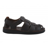 Sandalia piel con velcro color marrón