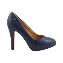 Zapato de salón tacón alto napa marino - Benavente