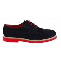 Zapato caballero serraje piel marino p/rojo