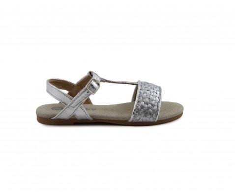 Sandalia plana niña color plata