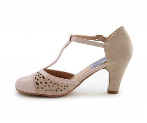 Zapato de salón tacón medio nude - Benavente