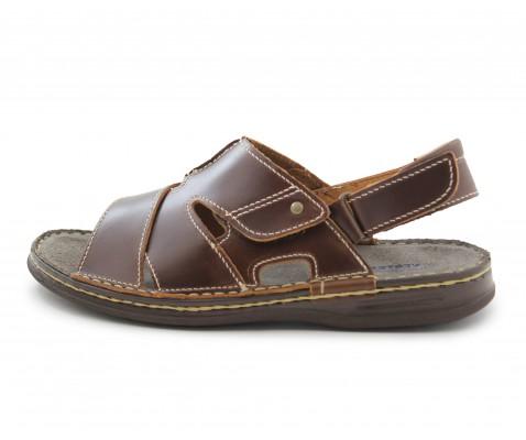 Sandalias piel clásicas marrón - Benavente