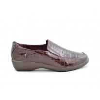 Zapato cómodo cuña baja burdeos