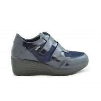 Zapato cómodo cuña media velcros marino