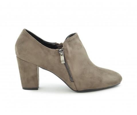 Zapato abotinado cremallera taupe