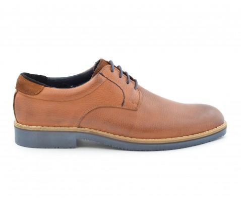Zapato casual cordones marino cuero