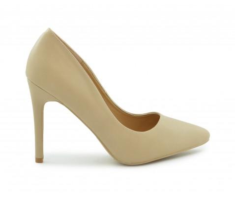 Zapato de salón tacón alto napa nude