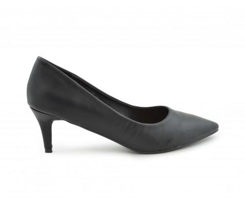 Zapato de salón tacón medio napa negro