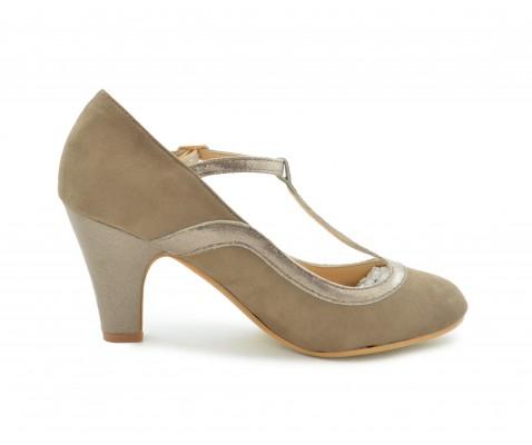 Zapato de salón tira brillo fango