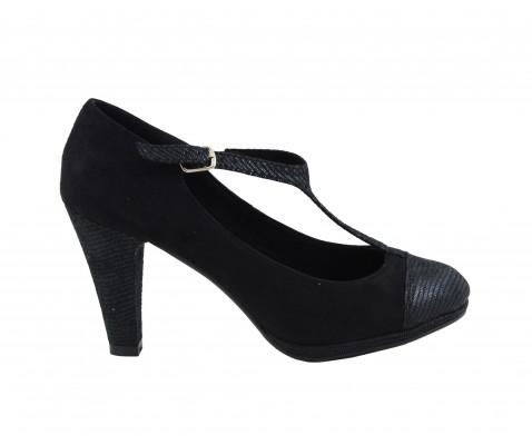 Zapato de salón tacón medio adorno puntera y tira negro