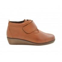 Zapato cómodo piel forrado interior velcro cuero