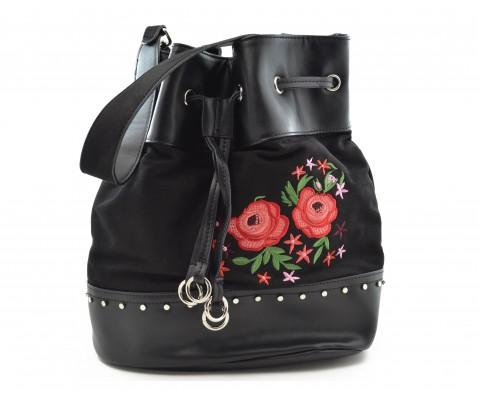 Bolso chika10 Adrianne 01 flores negro - Chika10