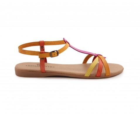 Sandalia plana piel multicolor - Benavente