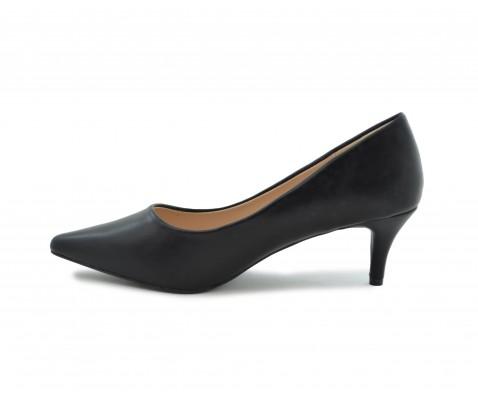 Zapato salón comodo tacon medio negro