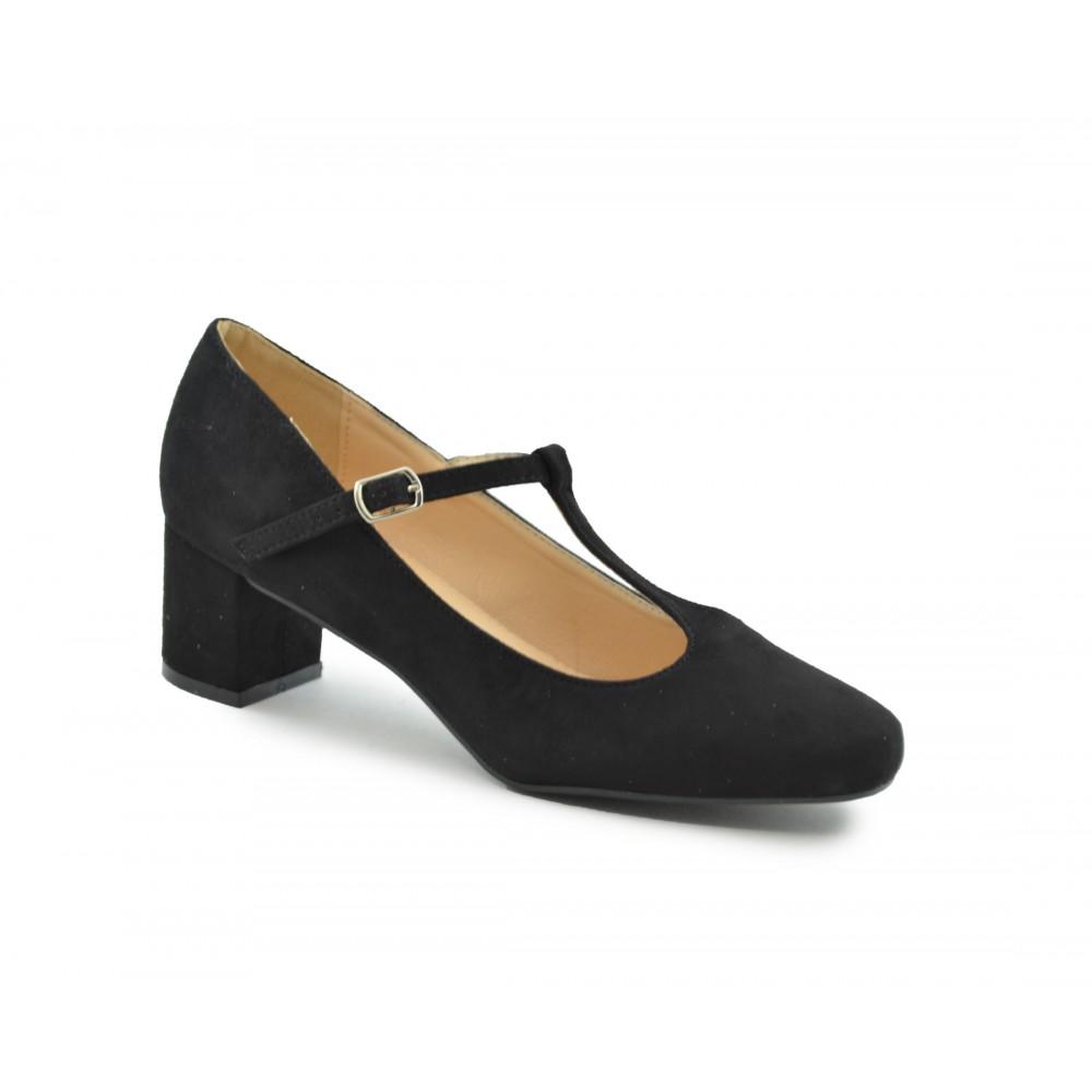 tacon Zapato · ancho tacon salón salón negro Zapato ancho ante ante 8H1Bq