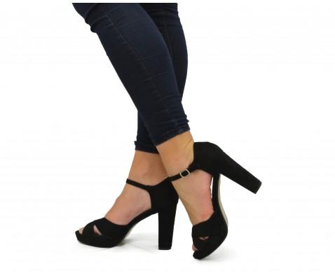 Sandalia de fiesta tacón alto ante negro