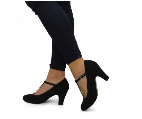 Zapato salón brillo trenzado negro