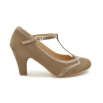 Zapato salón brillo trenzado fango