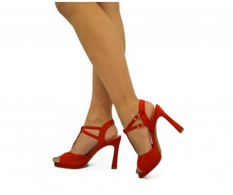 Zapato fiesta doble hebilla rojo