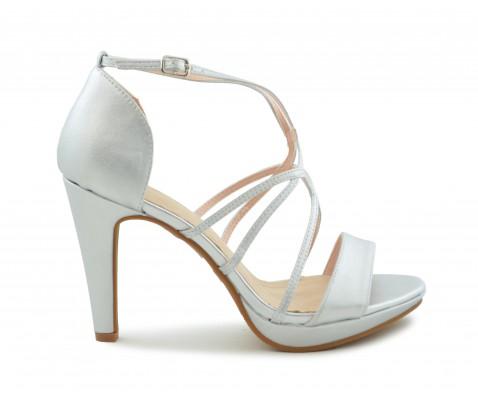 Zapato fiesta tiras finas plata