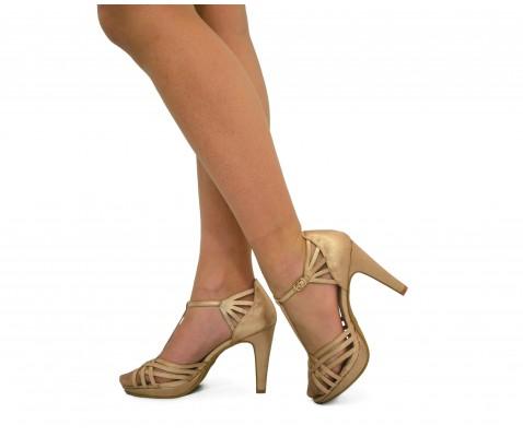 Zapato fiesta tiras entrelazadas taupe