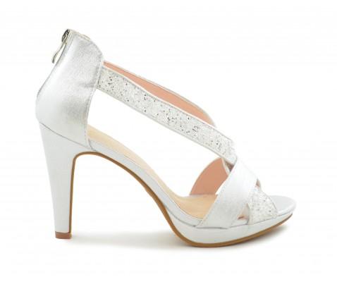 Zapato fiesta glitter tira plata