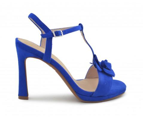 Fiesta Zapato Eléctrico Azul Zapato Flor Fiesta LjA54R3q