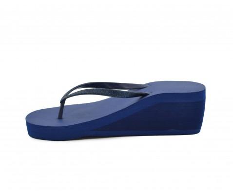 Sandalia cuña media azul marino