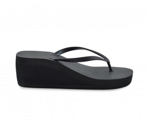 Sandalia cuña media negra