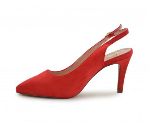 Zapato de fiesta destalonado rojo