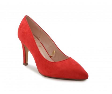 Zapato de salón suede rojo
