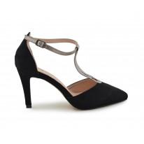Zapato de fiesta suede negro-plomo