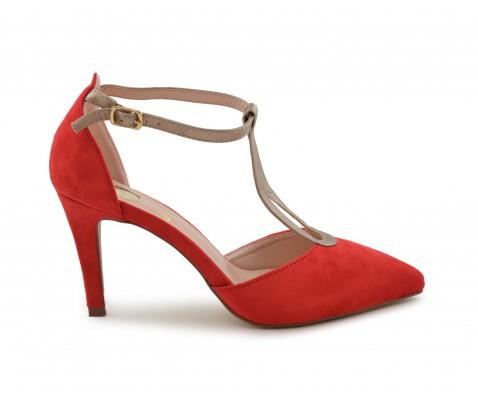 Zapato de fiesta suede rojo-platino