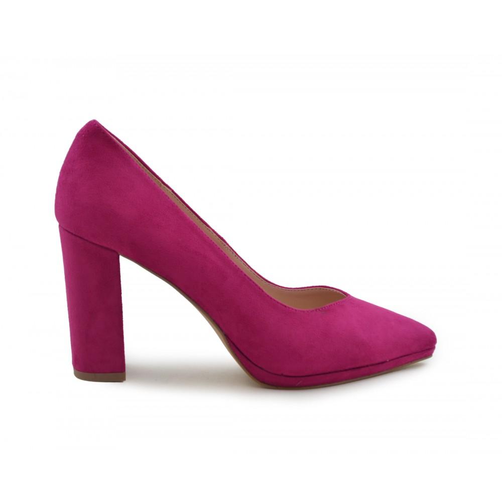 dcccef3b Zapato de salón tacón ancho fucsia - Calzados Benavente Online