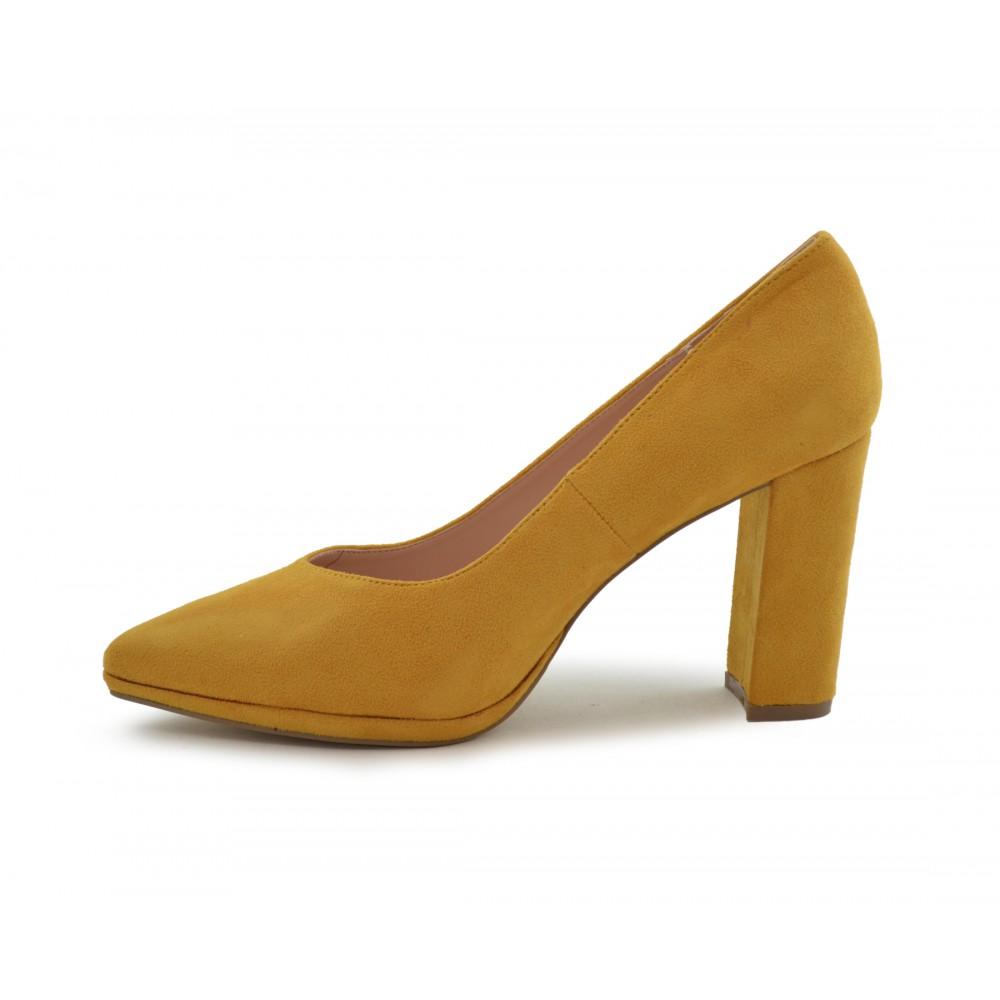 f1ae14cb Zapato de salón tacón ancho mostaza - Calzados Benavente Online