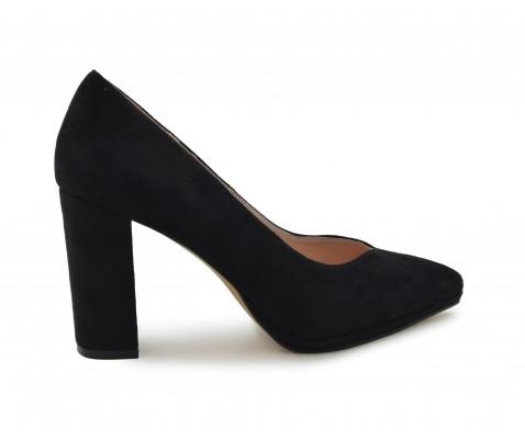 Zapato Negro Salón De Ancho Tacón W9YHI2ED