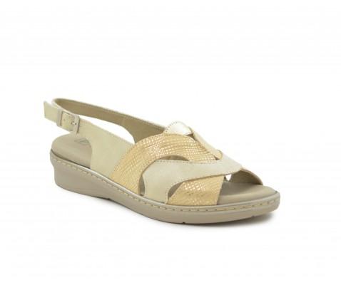 Sandalias piel plana comoda color oro