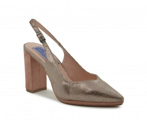 Zapato de fiesta destalonado taupe
