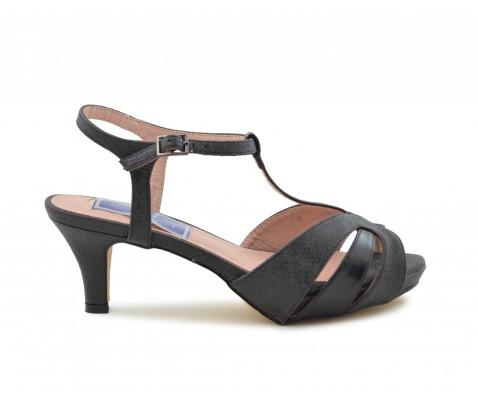 Sandalia de fiesta tacón bajo negro