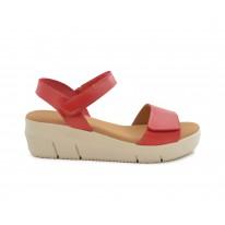 Sandalia piel cuña roja