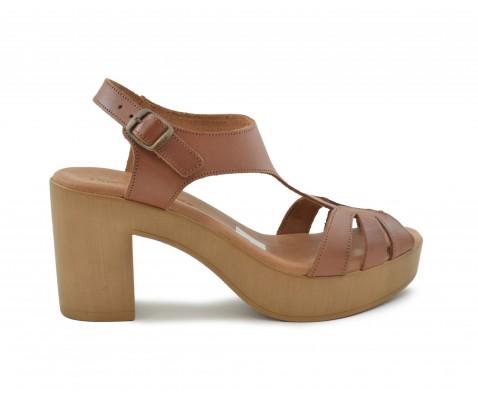 Sandalia piel tacón alto cuero
