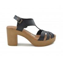 Sandalia piel tacón alto negra