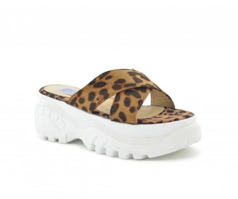 Sandalia plataforma tiras cruzadas animal print leopardo