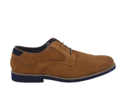 Zapato casual picado piso azul taupe