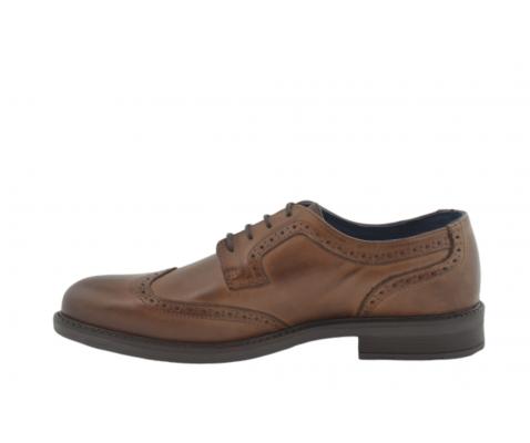 Zapato casual piel punteado marrón