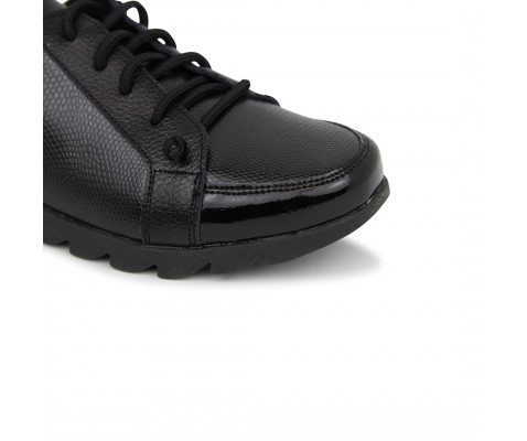 Zapatilla deportiva cómoda texturizada negra