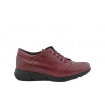 Zapato cómodo piel gaucho cordones burdeos