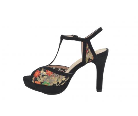 Sandalia fiesta tacón alto motivo floral negro