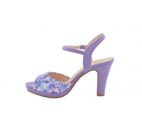 Sandalia fiesta tacón alto flores lila