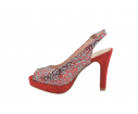 Sandalia fiesta diseño abstracto roja